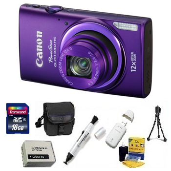 PowerShot Elph 340 HS Digital Camera - Purple - with 16GB Memory Card, Lens Cleaning Kit, Camera Case, Pen LCD Screen Cleaner, Table-Top Tripod, Replacement Battery, Card Reader - Deluxe Kit *FREE SHIPPING*