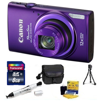 PowerShot Elph 340 HS Digital Camera - Purple - with 8GB Memory Card, Lens Cleaning Kit, Camera Case, Pen LCD Screen Cleaner, Table-Top Tripod - Essential Kit *FREE SHIPPING*