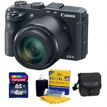 PowerShot G3 X Digital Camera - Black - 4GB Mem Card, Carrying Case & Cleaning Kit - Value Kit *FREE SHIPPING*