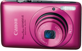 PowerShot SD-1400  IS 14.1 Megapixel, 4x Wide Angle Optical  IS Image Stabilized Zoom Lens, 2.7 Inch LCD Screen, HD Movie With HDMI Output Digital Elph Camera - Pink *FREE SHIPPING*