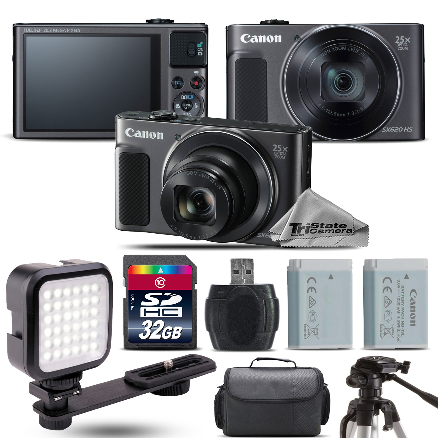c588f7712 CANON - PowerShot SX620 HS Black Digital Camera + Extra Battery + LED -  32GB Kit  FREE SHIPPING