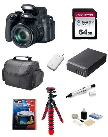 PowerShot SX70 HS Digital Camera - Black - 64GB Memory Card, Lens Cleaning Kit, Camera Case, Pen LCD Screen Cleaner, Table-Top Tripod, Replacement Battery, Card Reader - Deluxe Kit *FREE SHIPPING*