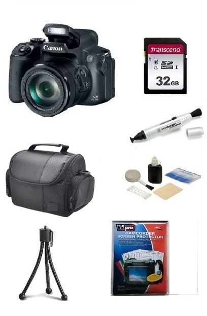 PowerShot SX70 HS Digital Camera - Black - 32GB Memory Card, Lens Cleaning Kit, Camera Case, Pen LCD Screen Cleaner, Table-Top Tripod - Essential Kit *FREE SHIPPING*