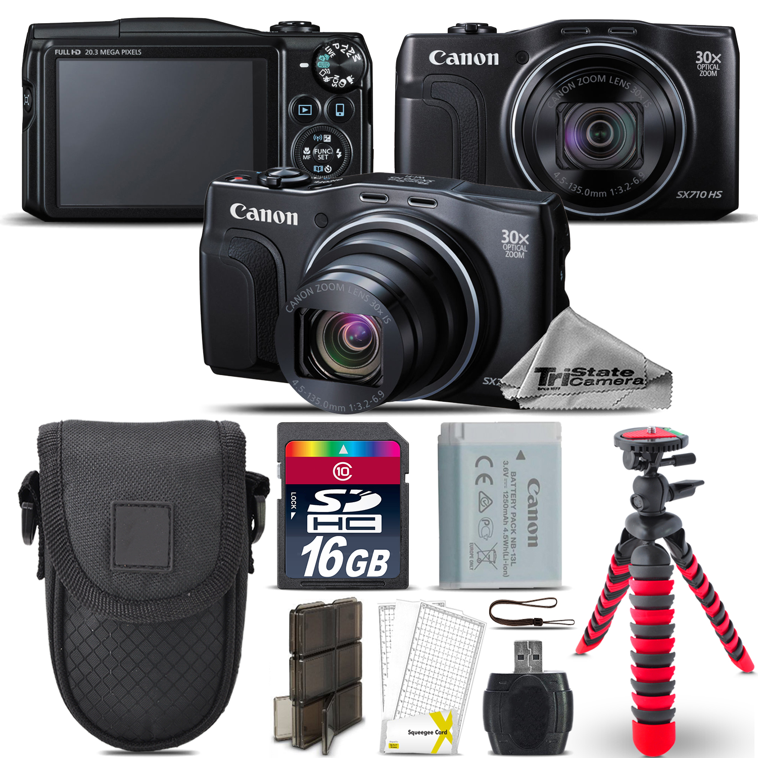 PowerShot SX710 HS Point & Shoot Camera + Spider Tripod + Case - 16GB Kit *FREE SHIPPING*