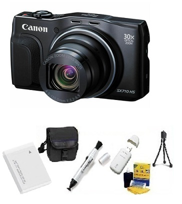 PowerShot SX 710 HS Digital Camera - Black - 16GB Memory Card, Lens Cleaning Kit, Camera Case, Pen LCD Screen Cleaner, Table-Top Tripod, Replacement Battery, Card Reader - Deluxe Kit *FREE SHIPPING*