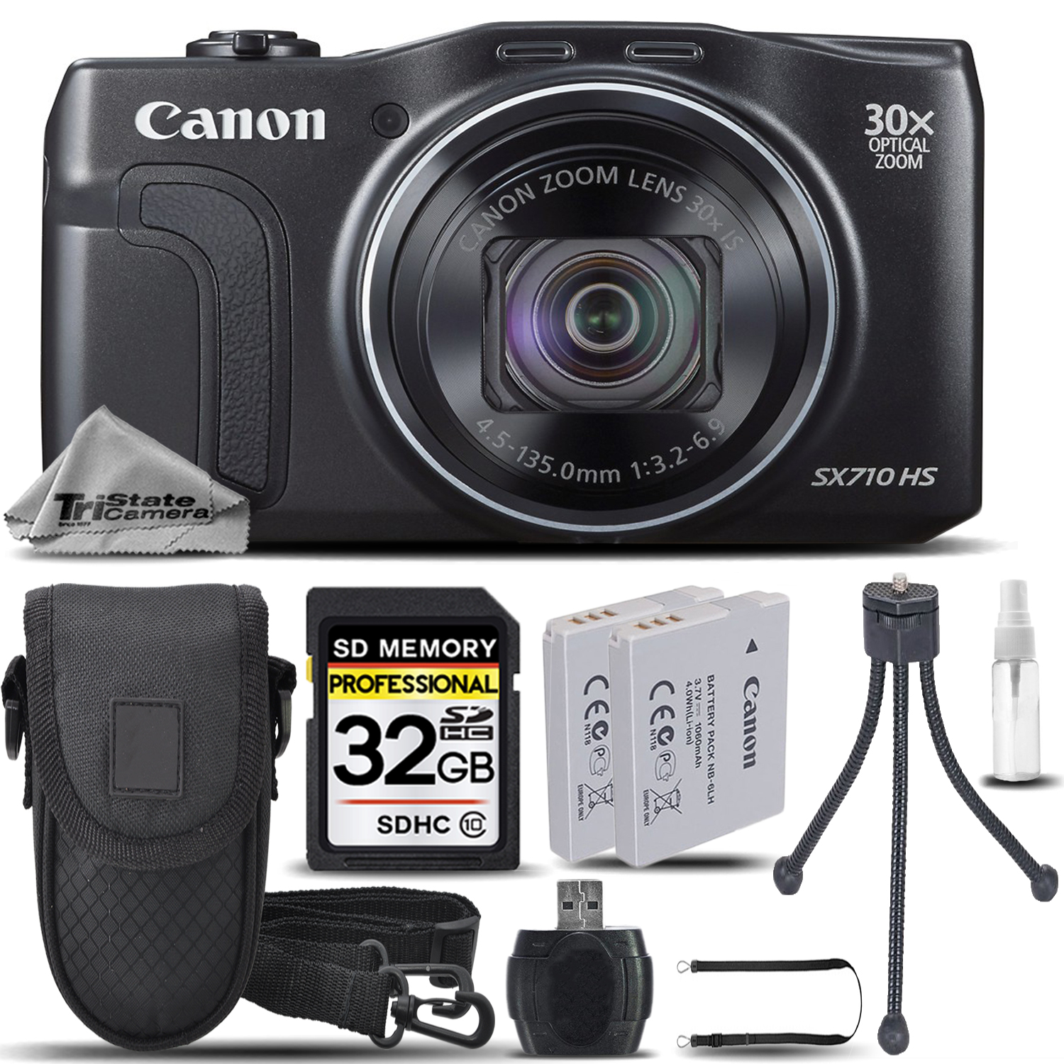 PowerShot SX710 HS Digital Camera (Black) + CASE +EXT BATT +TRIPOD + 32GB *FREE SHIPPING*