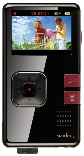 Vado Hd 8 Gb Pocket Video Camcorder, 2nd Generation Black Gloss With Maroon Accents
