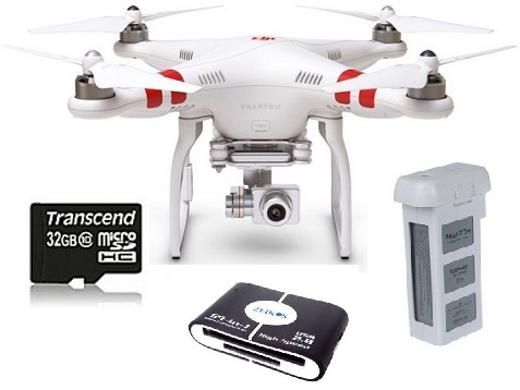 Phantom 2 Vision+ Version 3.0 Quadcopter Drone Flying 14.0 Megapixel Camera w/Extra Battery, 32GB Memory Card and Memory Card Reader Bundle *FREE SHIPPING*