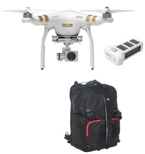 Phantom 3 Professtional Ready to Fly Quadcopter with integrated 4k camera with Extra Battery & Soft Backpack Bundle *FREE SHIPPING*