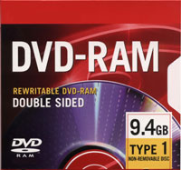 9.4gb Dvd-Ram, Rewritable Double Sided W/Cartridge