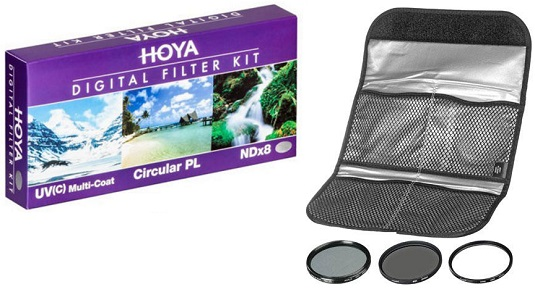 62mm 3 Piece Digital Filter Kit - UV, Cir-Polarizer & NDX8 Filters W/Pouch *FREE SHIPPING*