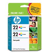 22 2-Pack Tri-Color Inkjet Print Cartridges