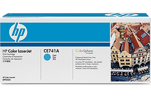 Color LaserJet CE741A Cyan Print Cartridge (yield: 7,300 pages)
