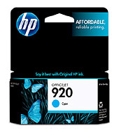 920 Cyan Officejet Ink Cartridge (Yield: 300 Pages)