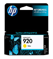HP 920 Yellow Officejet Ink Cartridge (Yield: 300 Pages)