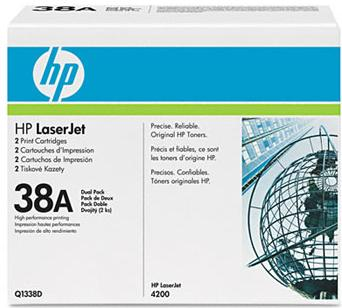 38a  Black Toner Cartridge, 2/ BOX  12000 Page-Yield,