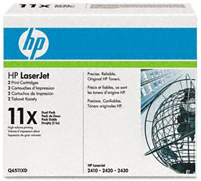 Q6511xd (Hp11x) Laser Cartridge, 6000 Page-Yield, 2/Pk, Black