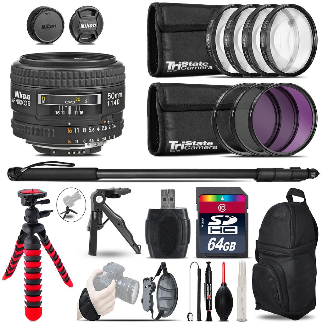 Nikon AF 50mm F/ 1.4D + MACRO, UV-CPL-FLD Filter + Monopod - 64GB Accessory Kit *FREE SHIPPING*