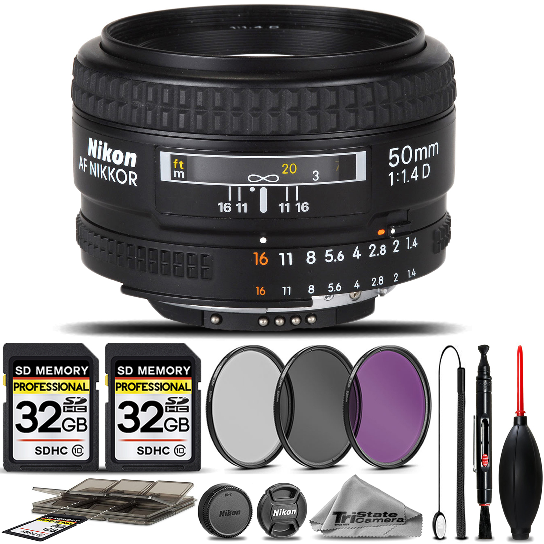 Nikon AF NIKKOR 50mm f/1.4D Autofocus Lens + 3PC FILTER +64GB STORAGE BUNDLE KIT *FREE SHIPPING*