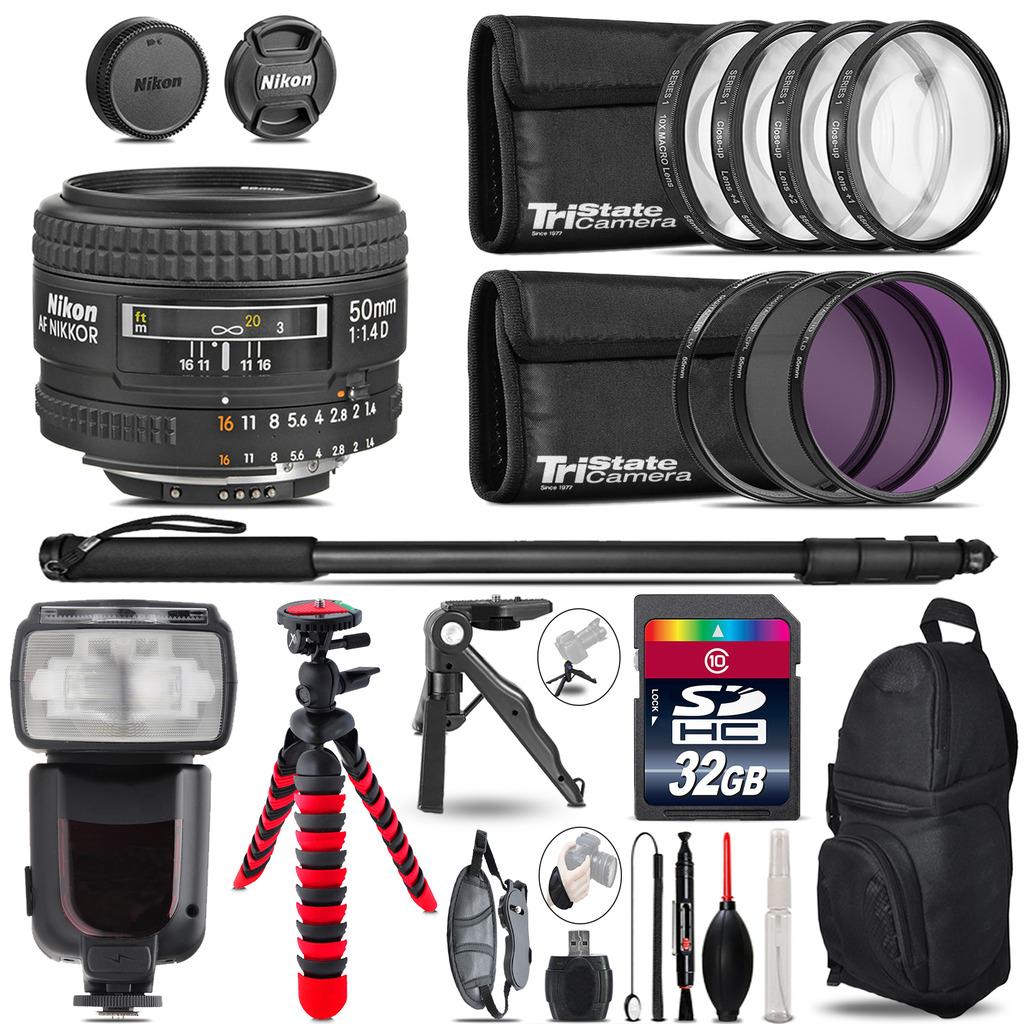 Nikon AF 50mm F/ 1.4D + Professional Flash + Macro Kit - 32GB Accessory Bundle *FREE SHIPPING*