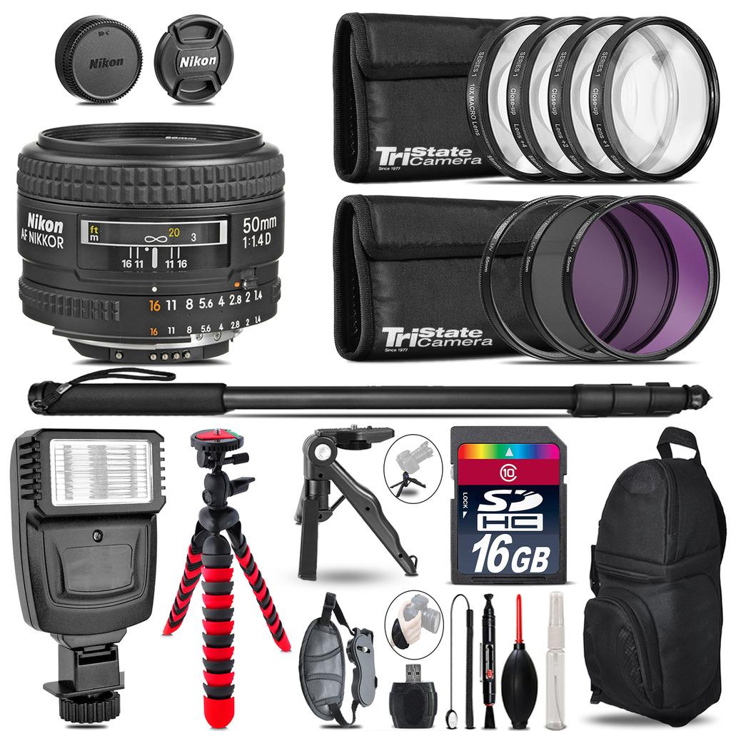 Nikon AF 50mm F/ 1.4D + Slave Flash + MACRO, UV-CPL-FLD - 16GB Accessory Bundle *FREE SHIPPING*