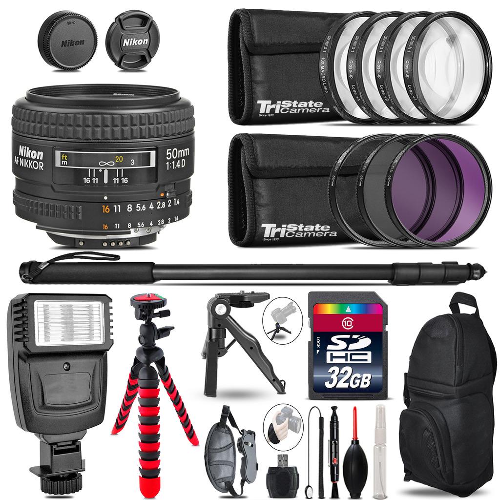 Nikon AF 50mm F/ 1.4D + Slave Flash + MACRO, UV-CPL-FLD - 32GB Accessory Bundle *FREE SHIPPING*