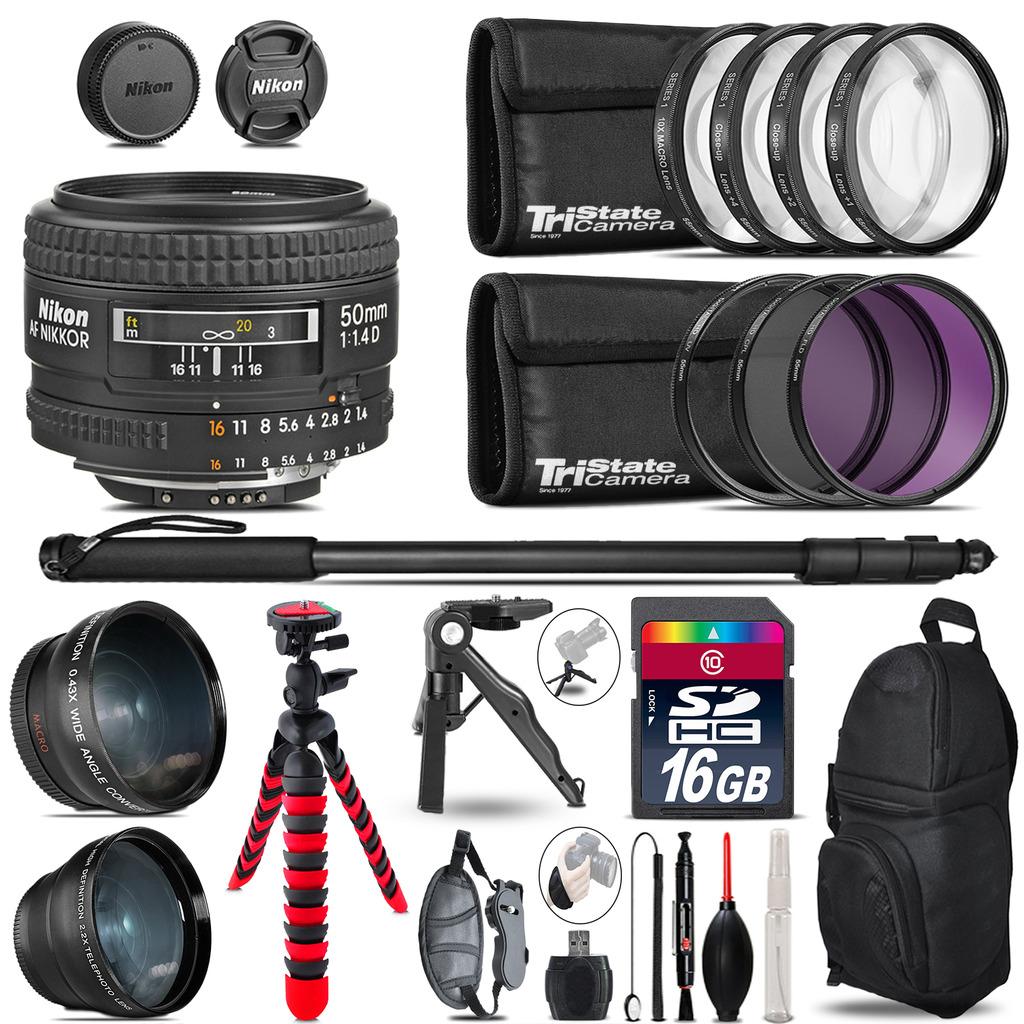 Nikon AF 50mm F/ 1.4D - 3 Lens Kit + Tripod + Backpack - 16GB Accessory Bundle *FREE SHIPPING*