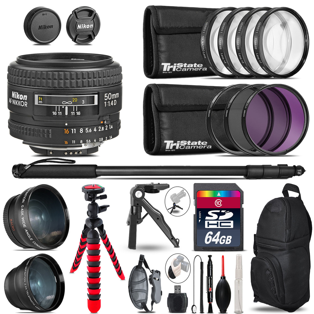 Nikon AF 50mm F/ 1.4D - 3 Lens Kit + Tripod + Backpack - 64GB Accessory Bundle *FREE SHIPPING*