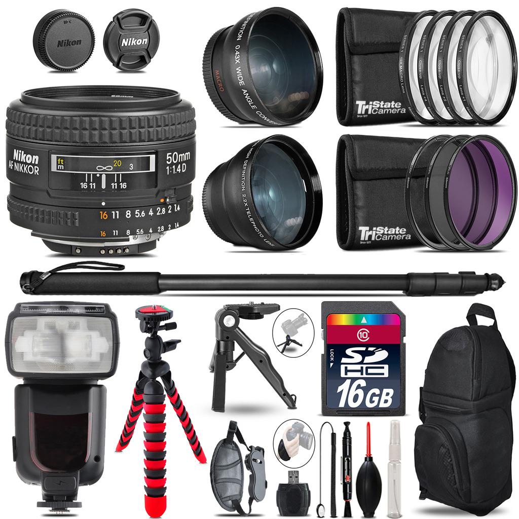 Nikon AF 50mm F/ 1.4D - 3 Lens Kit + Professional Flash - 16GB Accessory Bundle *FREE SHIPPING*
