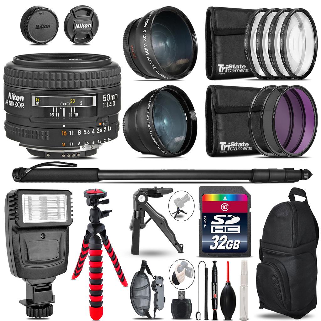 Nikon AF 50mm F/ 1.4D -3 Lens Kit + Slave Flash + Tripod - 32GB Accessory Bundle *FREE SHIPPING*