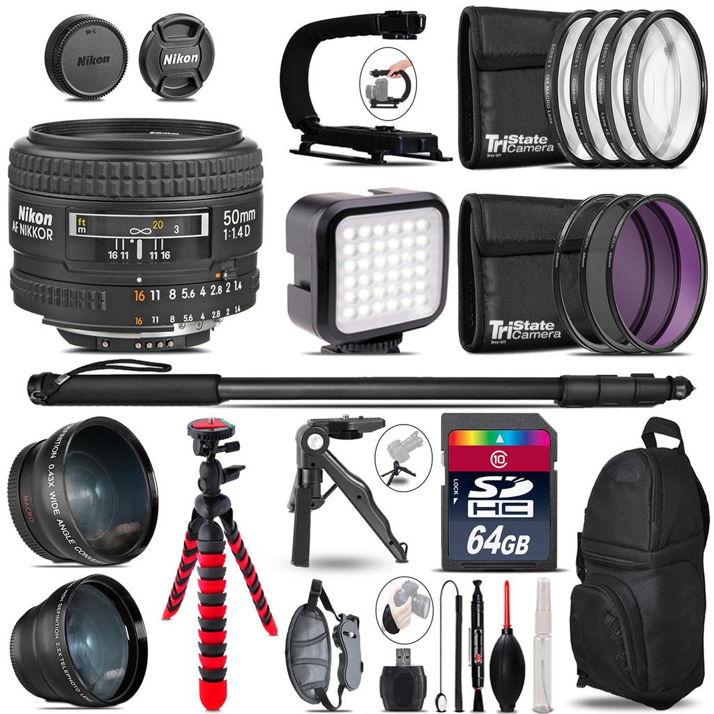 Nikon AF 50mm F/ 1.4D -Video Kit + LED KIt + Monopod - 64GB Accessory Bundle *FREE SHIPPING*