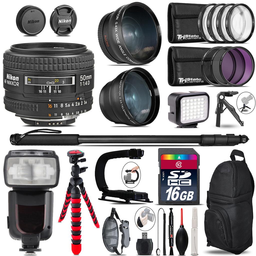 Nikon AF 50mm F/ 1.4D + Pro Flash + LED Light + Tripod - 16GB Accessory Bundle *FREE SHIPPING*
