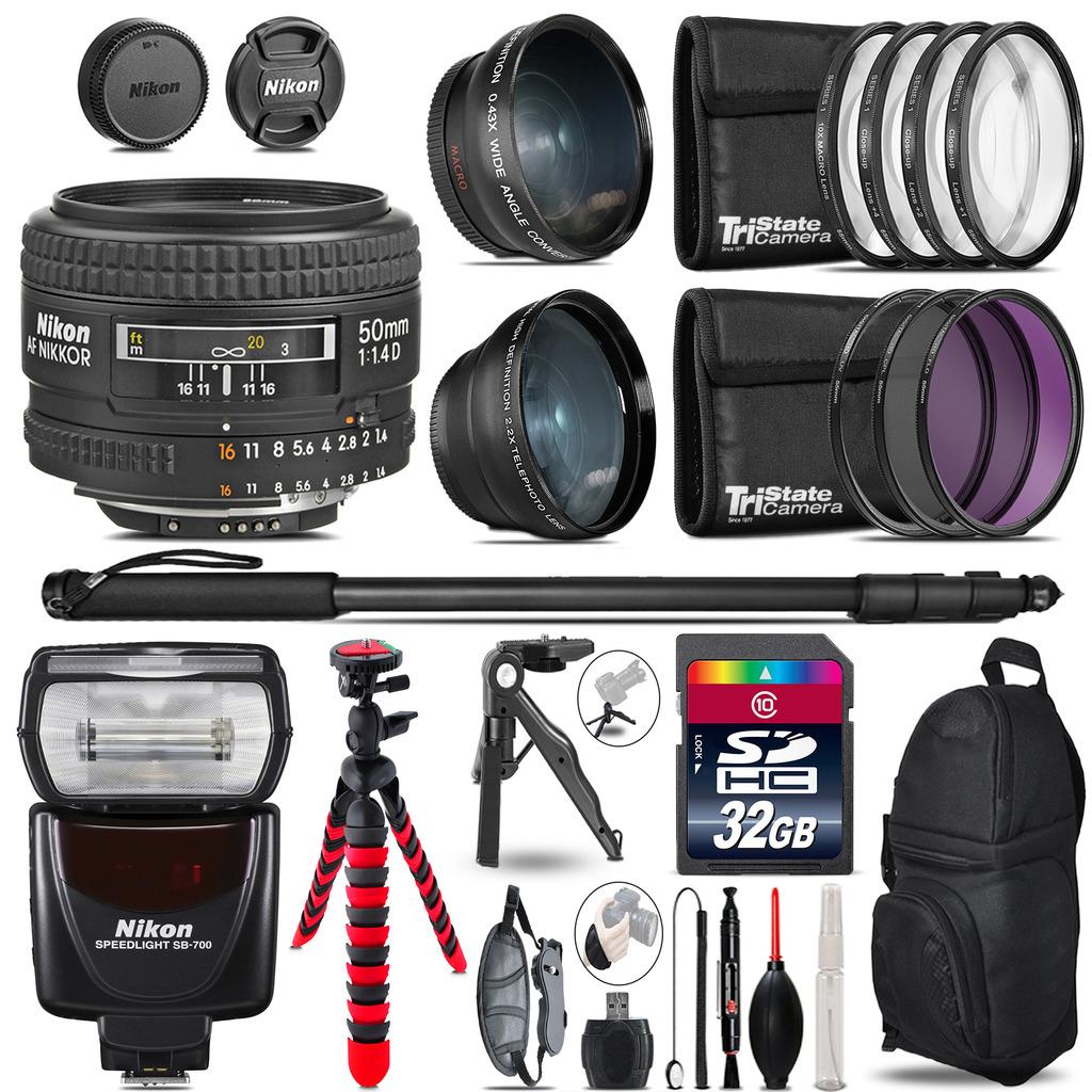 Nikon AF 50mm F/ 1.4D + SB-700 AF Speedlight - 3 Lens Kit - 32GB Accessory Kit *FREE SHIPPING*