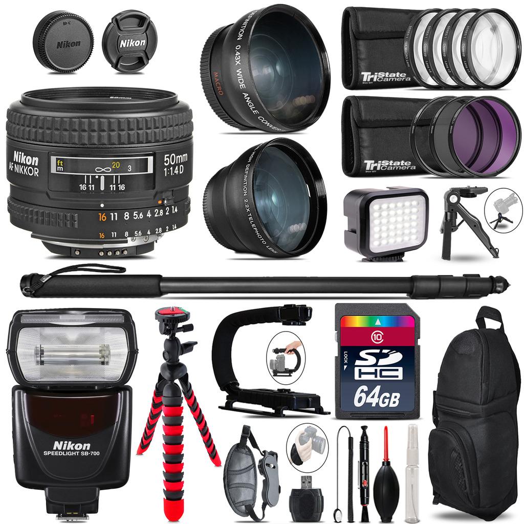 Nikon AF 50mm F/ 1.4D + SB-700 AF Speedlight - LED LIGHT - 64GB Accessory Kit *FREE SHIPPING*