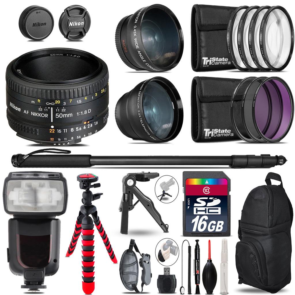 Nikon AF 50mm 1.8D - 3 Lens Kit + Professional Flash - 16GB Accessory Bundle *FREE SHIPPING*