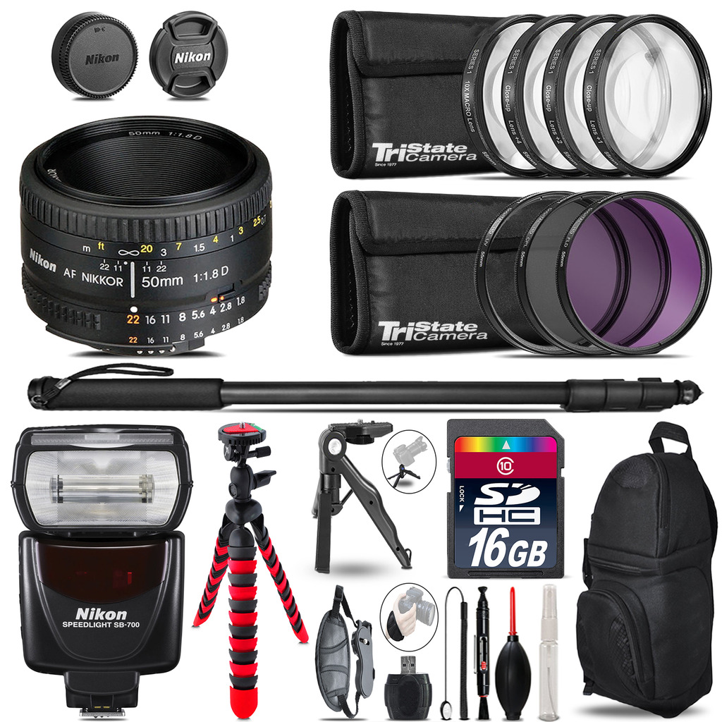 Nikon AF 50mm 1.8D + SB-700 AF Speedlight + UV-CPL-FLD - 16GB Accessory Kit *FREE SHIPPING*