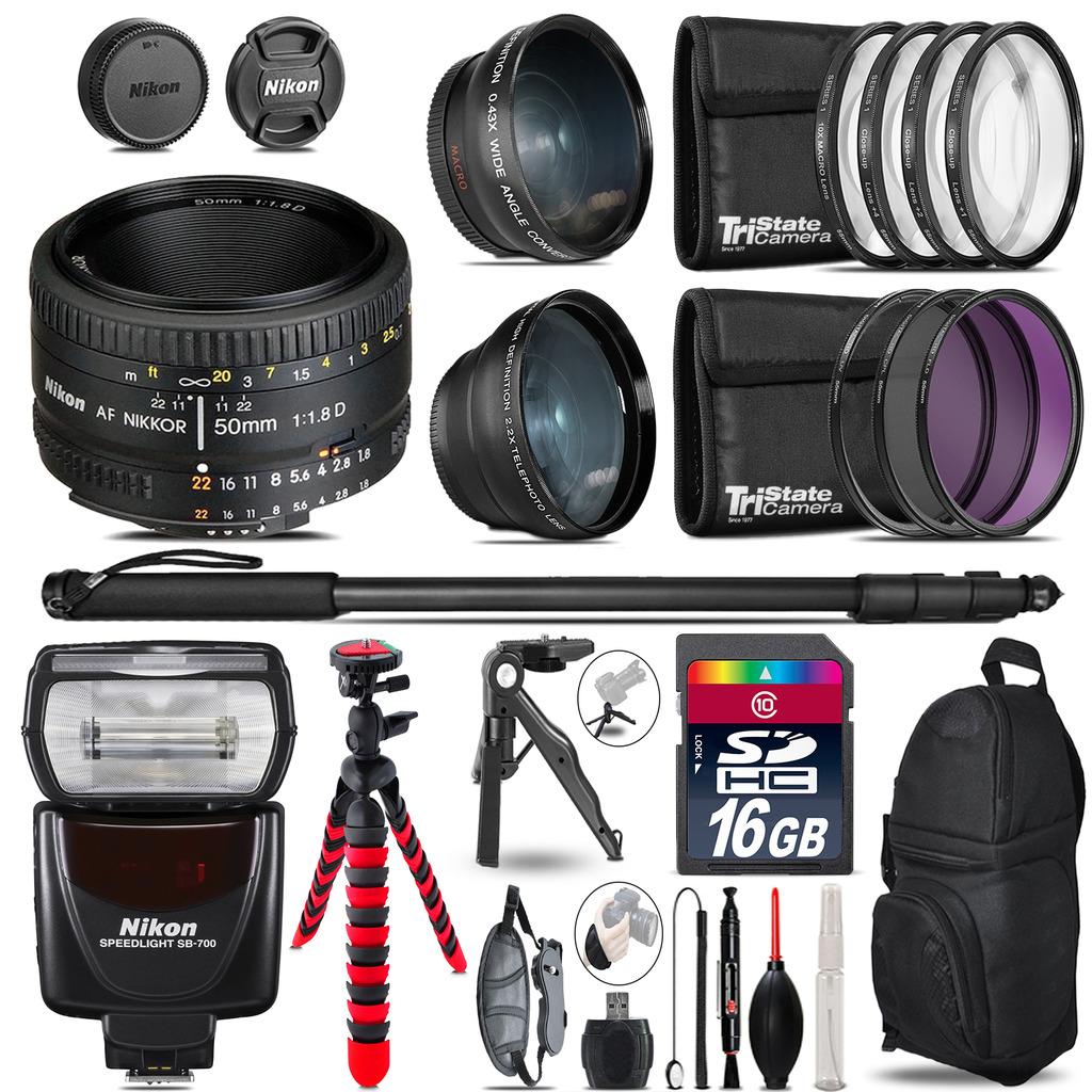 Nikon AF 50mm 1.8D + SB-700 AF Speedlight - 3 Lens Kit - 16GB Accessory Kit *FREE SHIPPING*