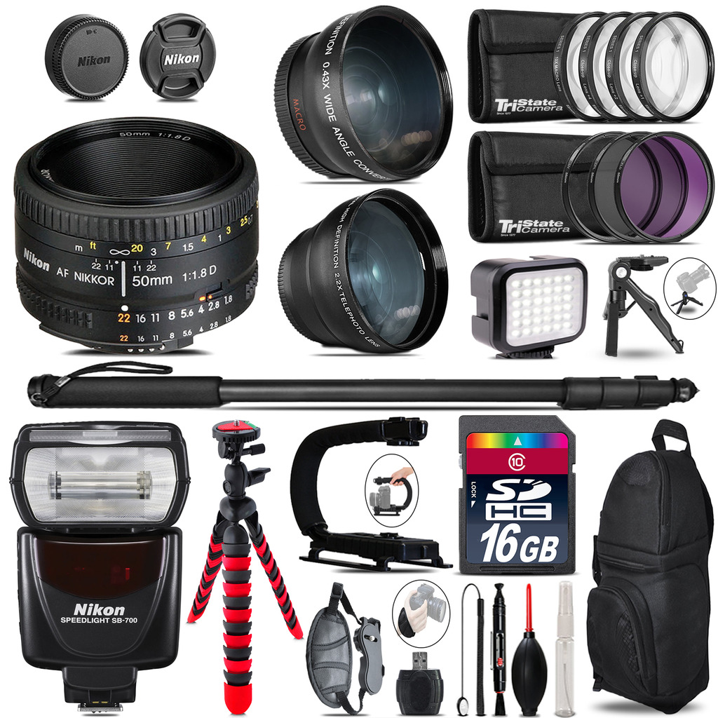 Nikon AF 50mm 1.8D + SB-700 AF Speedlight - LED LIGHT - 16GB Accessory Kit *FREE SHIPPING*