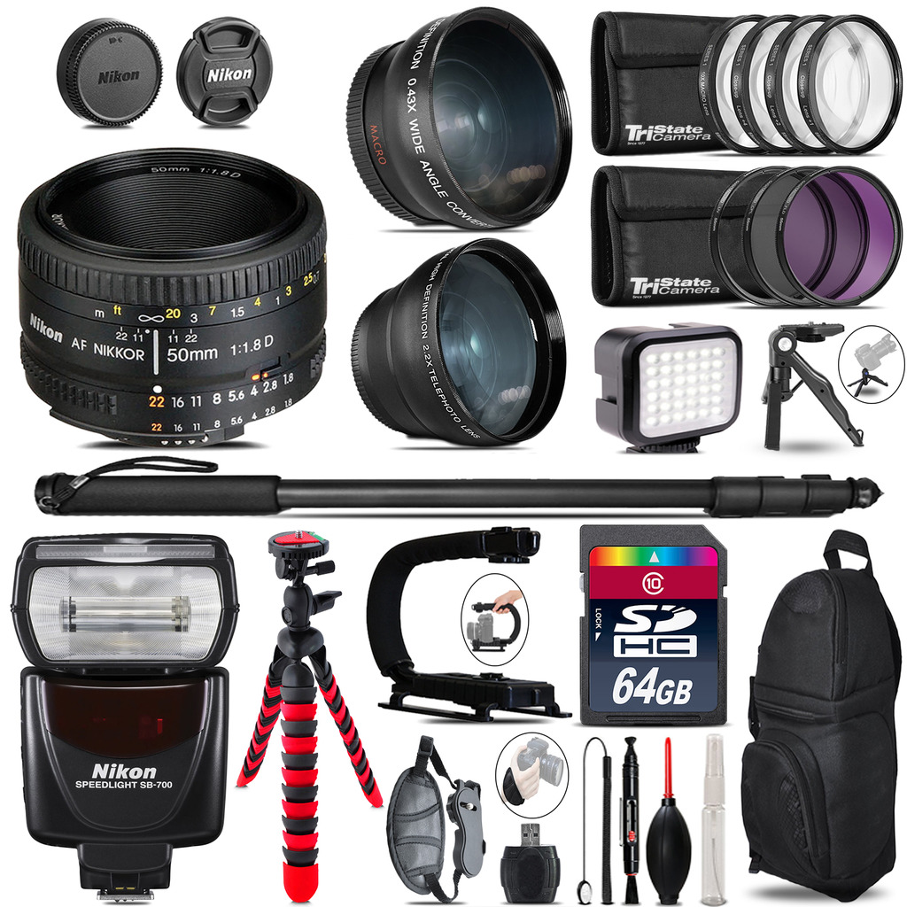 Nikon AF 50mm 1.8D + SB-700 AF Speedlight - LED LIGHT - 64GB Accessory Kit *FREE SHIPPING*