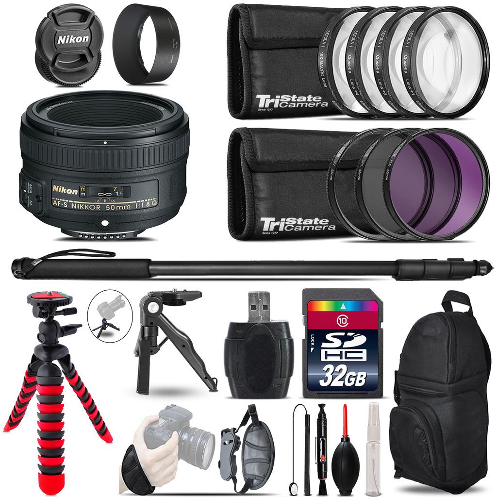 Nikon AF-S 50mm 1.8G + MACRO, UV-CPL-FLD Filter + Monopod - 32GB Accessory Kit *FREE SHIPPING*