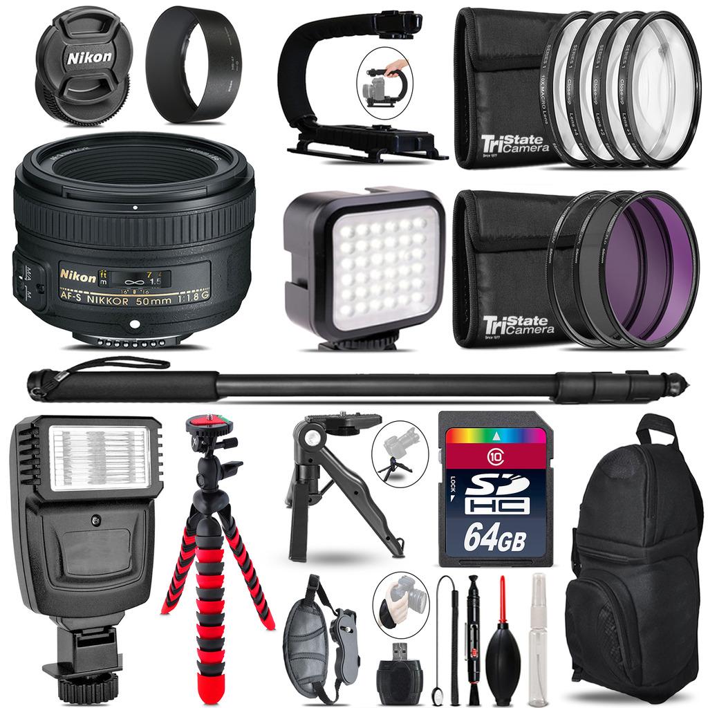 Nikon AF-S 50mm 1.8G -Video Kit + Slave Flash + Monopod - 64GB Accessory Bundle *FREE SHIPPING*