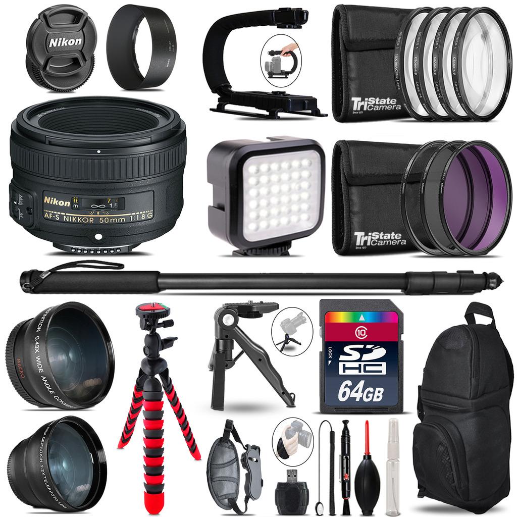 Nikon AF-S 50mm f/ 1.8G-Video Kit + LED KIt + Monopod - 64GB Accessory Bundle *FREE SHIPPING*