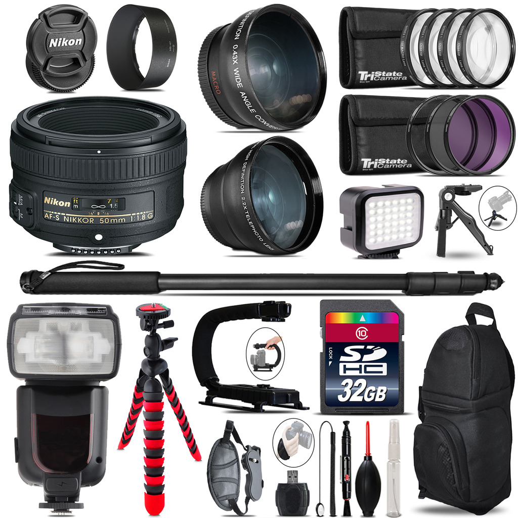 Nikon AF-S 50mm 1.8G + Pro Flash + LED Light + Tripod - 32GB Accessory Bundle *FREE SHIPPING*
