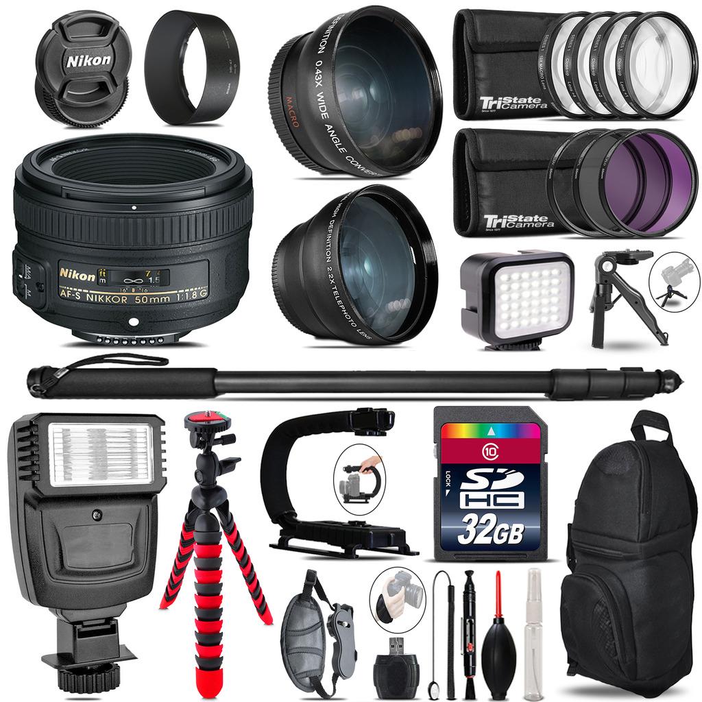 Nikon AF-S 50mm 1.8G + Slave Flash + LED Light + Tripod - 32GB Accessory Bundle *FREE SHIPPING*