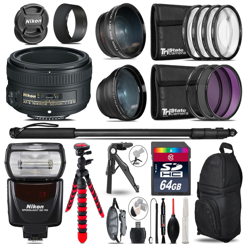 Nikon AF-S 50mm 1.8G + SB-700 AF Speedlight - 3 Lens Kit - 64GB Accessory Kit *FREE SHIPPING*