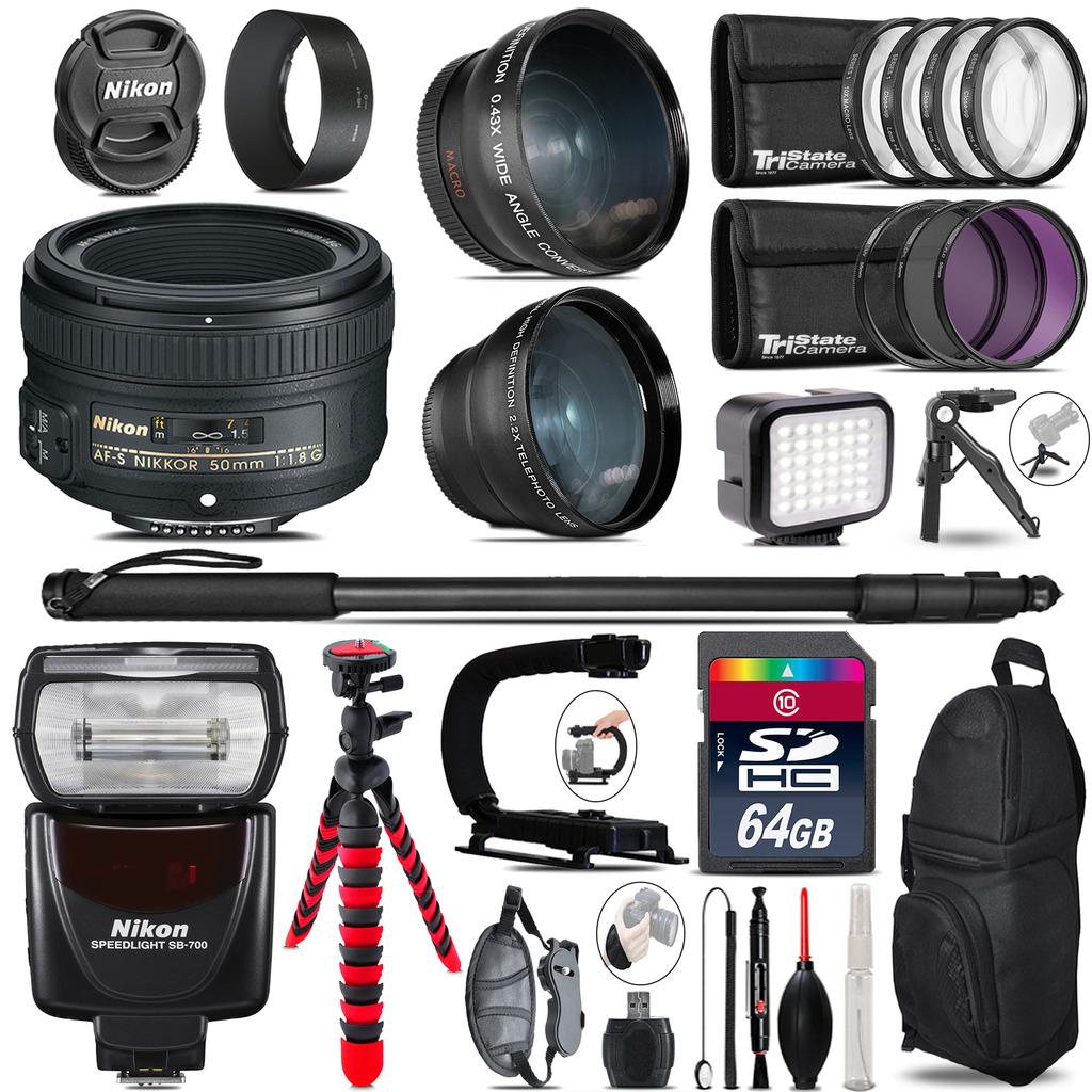 Nikon AF-S 50mm 1.8G + SB-700 AF Speedlight - LED LIGHT - 64GB Accessory Kit *FREE SHIPPING*