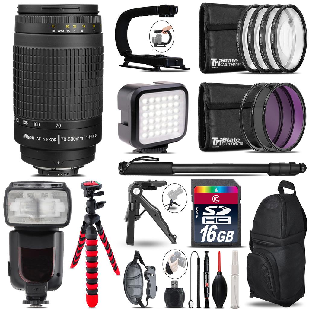 Nikon AF 70-300mm G - Video Kit + Pro Flash + Monopod - 16GB Accessory Bundle *FREE SHIPPING*
