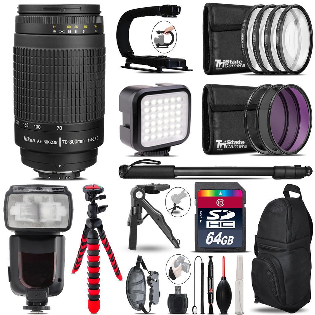 Nikon AF 70-300mm G - Video Kit + Pro Flash + Monopod - 64GB Accessory Bundle *FREE SHIPPING*