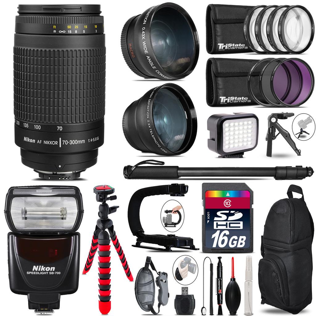 Nikon AF 70-300mm G + SB-700 AF Speedlight - LED LIGHT - 16GB Accessory Kit *FREE SHIPPING*