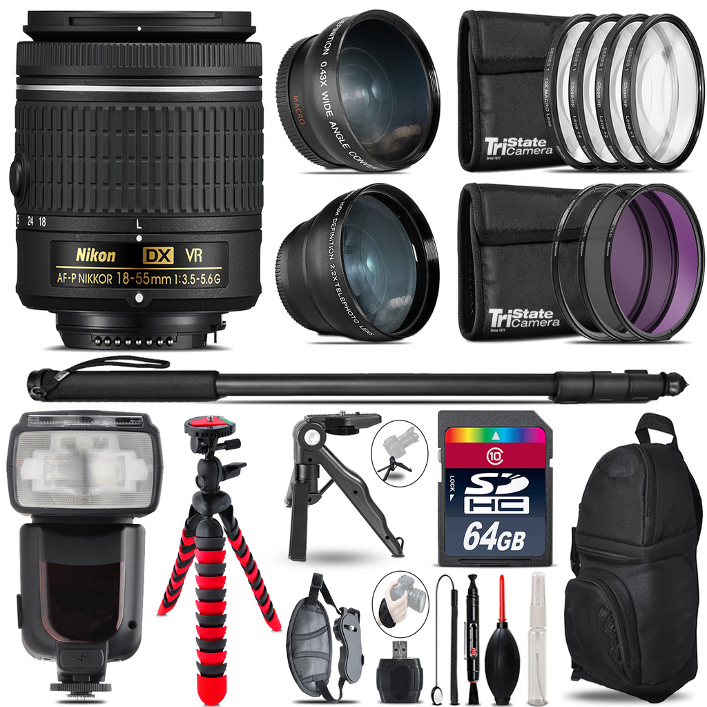 Nikon AF-P 18-55mm VR - 3 Lens Kit + Professional Flash - 64GB Accessory Bundle *FREE SHIPPING*